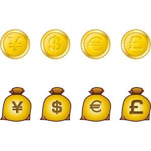 フリーイラスト, ベクター画像, AI, 金貨, 硬貨, お金, 日本円, アメリカドル, ドル袋, 円袋, ユーロ, ポンド