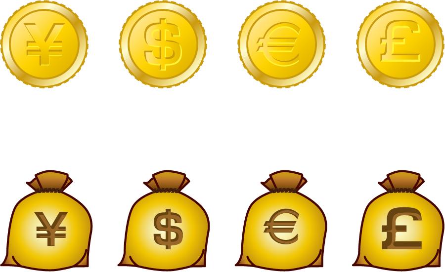 フリーイラスト 円、ドル、ユーロ、ポンドの金貨と袋のセット