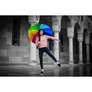 フリー写真, 人物, 女性, アジア人女性, 傘, 雨