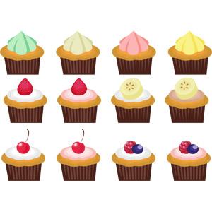 フリーイラスト, ベクター画像, AI, 食べ物(食料), 菓子, 洋菓子, カップケーキ