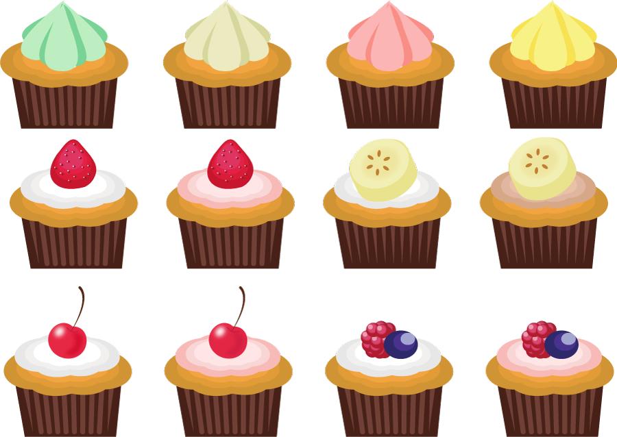 フリーイラスト 12種類のカップケーキのセット