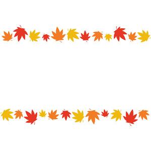 フリーイラスト, ベクター画像, AI, 背景, フレーム, 上下フレーム, 植物, 葉っぱ, もみじ(カエデ), 紅葉(黄葉), 秋