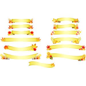 フリーイラスト, ベクター画像, AI, 飾り(装飾), リボン, 帯リボン, 金色(ゴールド), 秋, もみじ(カエデ), 紅葉(黄葉), どんぐり(ドングリ), 松ぼっくり(松笠)