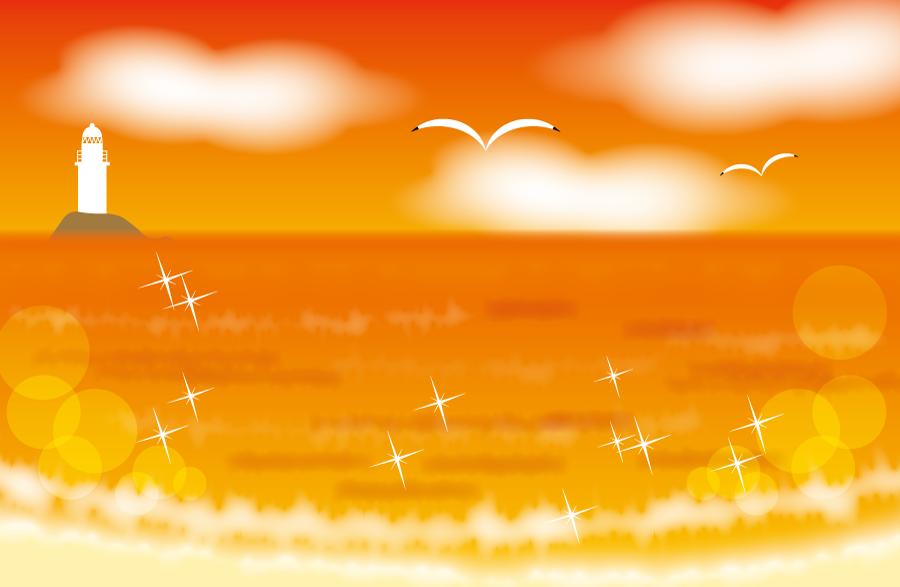 フリーイラスト 夕焼けに染まる海の風景
