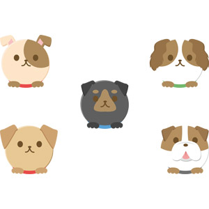 フリーイラスト, ベクター画像, AI, 動物, 哺乳類, 犬(イヌ), ブルドッグ, 動物の顔