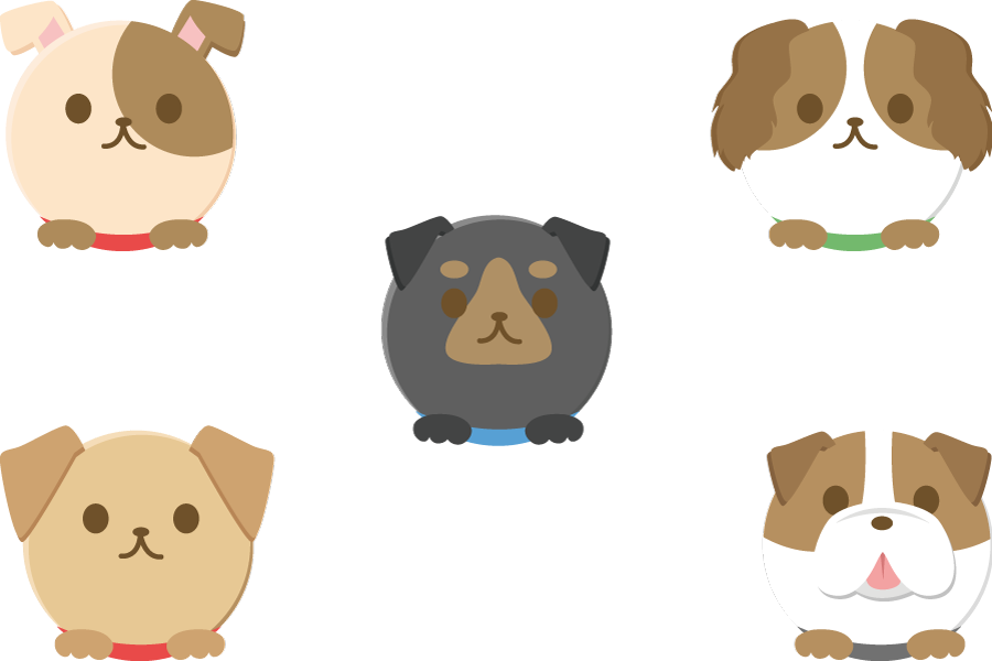 フリーイラスト 5種類の丸い犬のセット