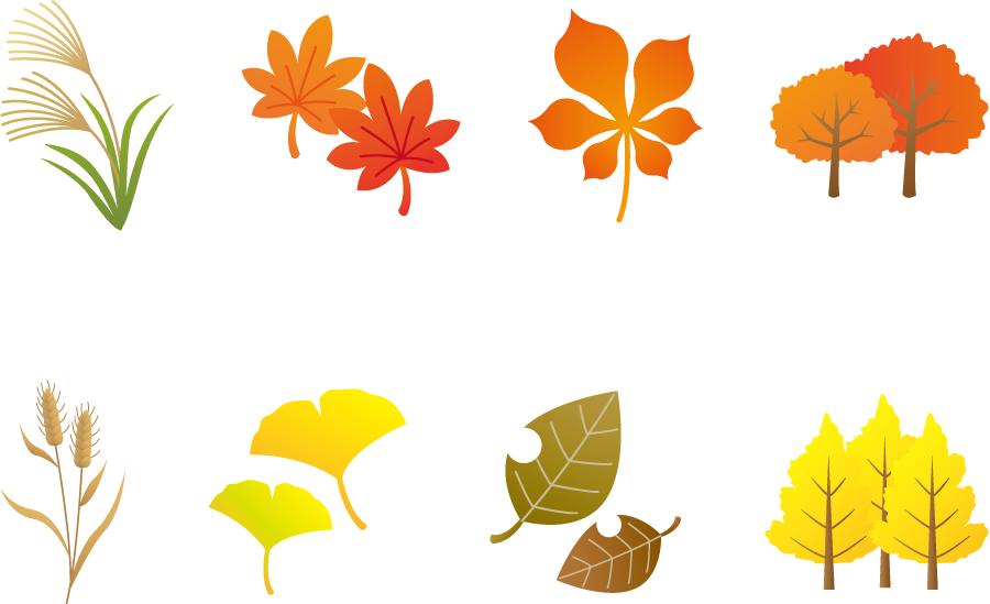 フリーイラスト 薄やもみじなどの秋の植物のセット