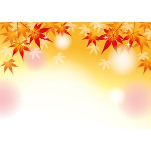 フリーイラスト, ベクター画像, AI, 背景, 植物, 葉っぱ, もみじ(カエデ), 紅葉(黄葉), 秋, 輝き