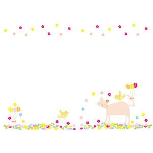 フリーイラスト, ベクター画像, AI, 背景, フレーム, 上下フレーム, 猫(ネコ), 小鳥, 風船, 花, 風船