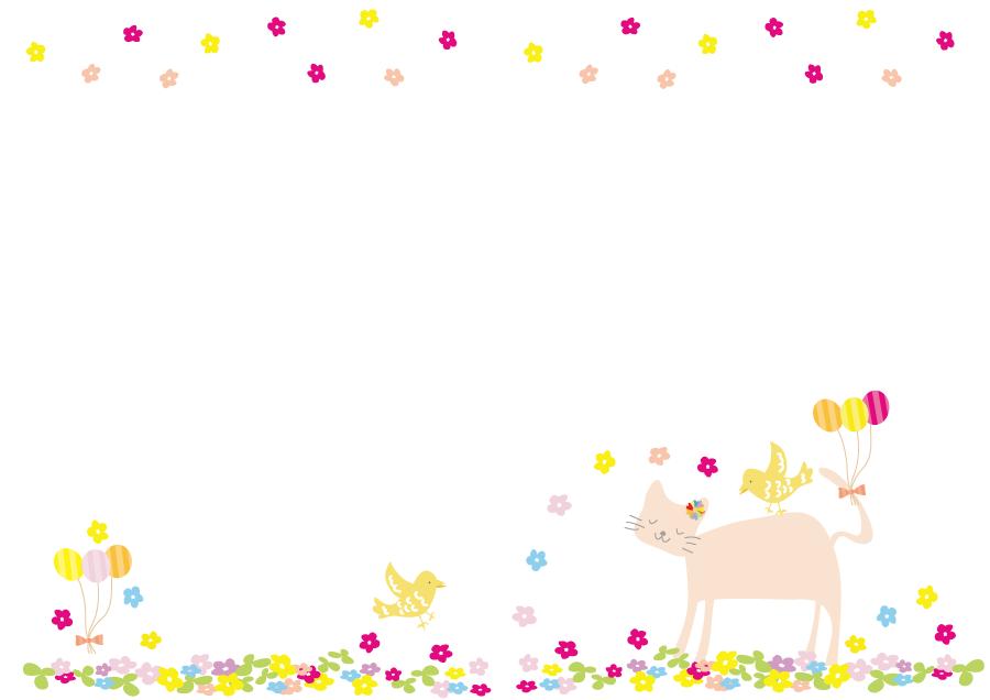フリーイラスト カラフルな花と猫と小鳥の飾り枠