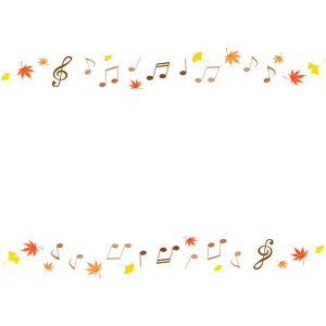 フリーイラスト, ベクター画像, EPS, 背景, フレーム, 上下フレーム, 音楽, 音符, 秋, 葉っぱ, 落葉(落ち葉), もみじ(カエデ), 紅葉(黄葉), イチョウ