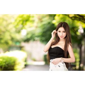 フリー写真, 人物, 女性, アジア人女性, 沈琪琪(00279), 髪をかき上げる