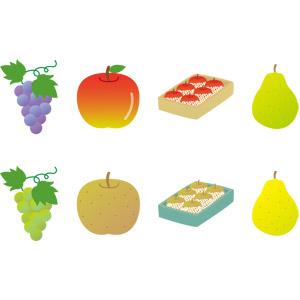 フリーイラスト, ベクター画像, AI, 食べ物(食料), 果物(フルーツ), リンゴ, 葡萄(ブドウ), マスカット, 梨(ナシ), 洋なし(セイヨウナシ)