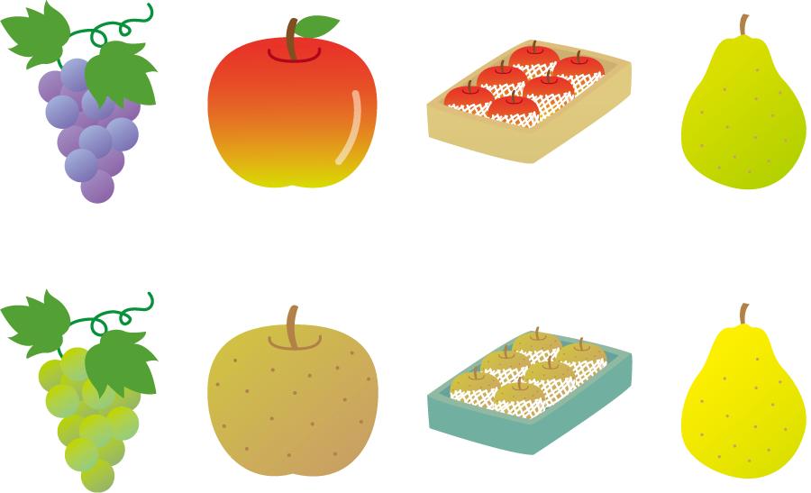 フリーイラスト 葡萄、リンゴ、梨、洋梨のセット