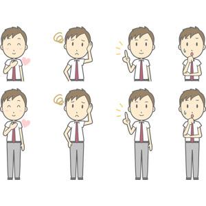 フリーイラスト, ベクター画像, AI, 人物, 少年, 少年(00274), 学生(生徒), 高校生, 学生服, 胸に手を当てる, 恋する, 困る, 指差す, アドバイス, 心配する