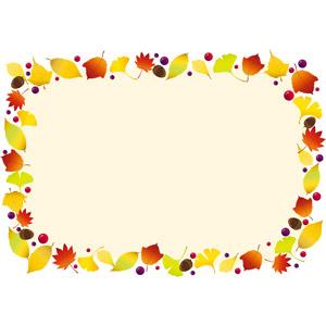 フリーイラスト, ベクター画像, AI, 背景, フレーム, 囲みフレーム, 植物, 葉っぱ, もみじ(カエデ), 紅葉(黄葉), 秋, イチョウ, 落葉(落ち葉), どんぐり(ドングリ)
