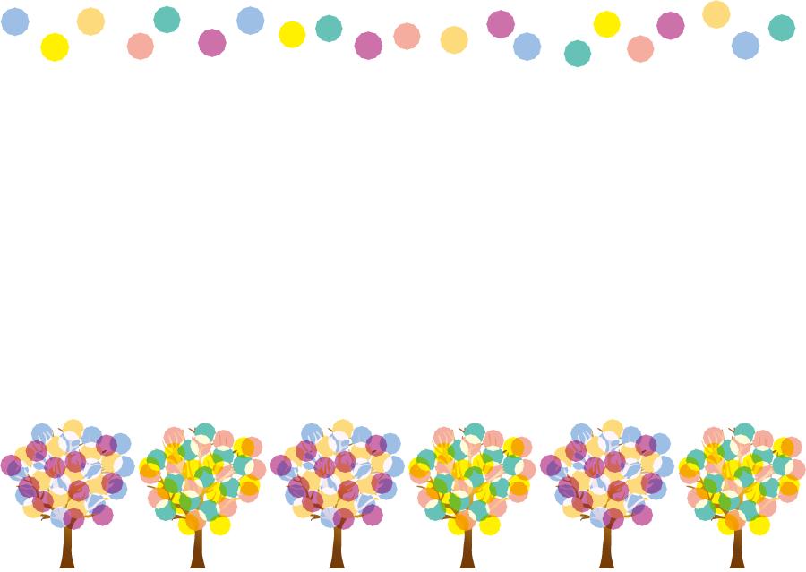 フリーイラスト 水玉と水玉の木の飾り枠