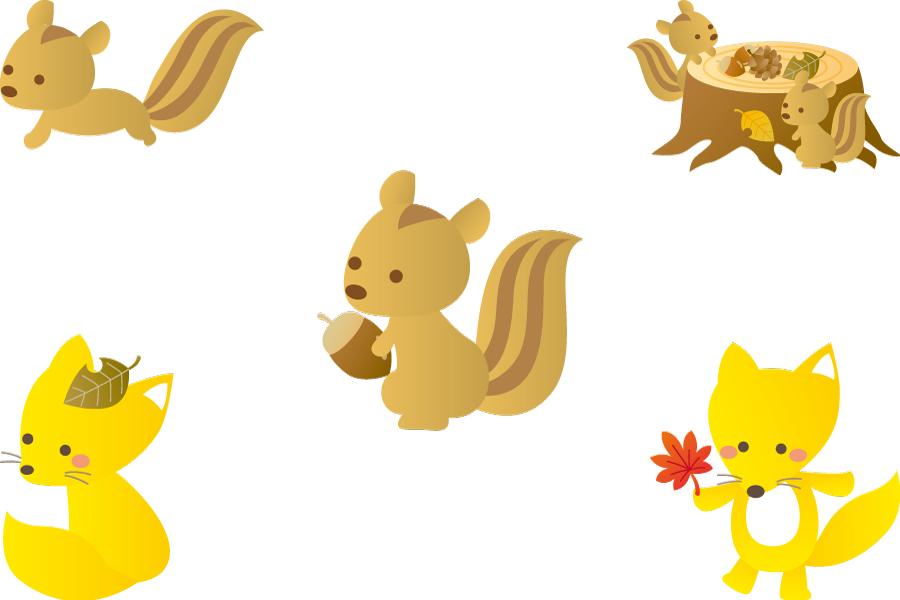 フリーイラスト リスとキツネの秋のセット