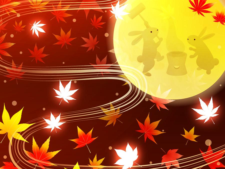 フリーイラスト 満月と餅をつく月ウサギと紅葉の背景