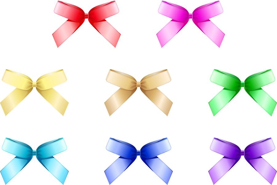 フリーイラスト 10色の蝶リボンのセット