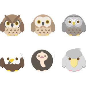 フリーイラスト, ベクター画像, AI, 動物, 鳥類, 猛禽類, 梟(フクロウ), 鷲(ワシ), 白頭鷲(ハクトウワシ), ダチョウ, ハシビロコウ