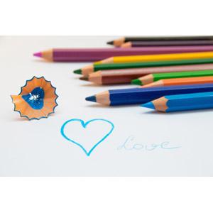 フリー写真, 画材, 色鉛筆, ハート, 愛(ラブ)