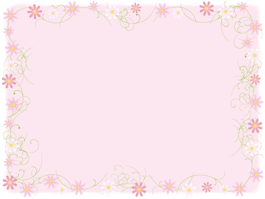 フリーイラスト コスモスの花の飾り枠