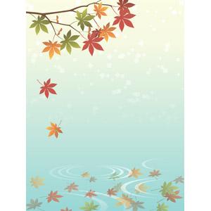 フリーイラスト, ベクター画像, AI, 背景, 植物, 葉っぱ, もみじ(カエデ), 紅葉(黄葉), 落葉(落ち葉), 秋, 波紋