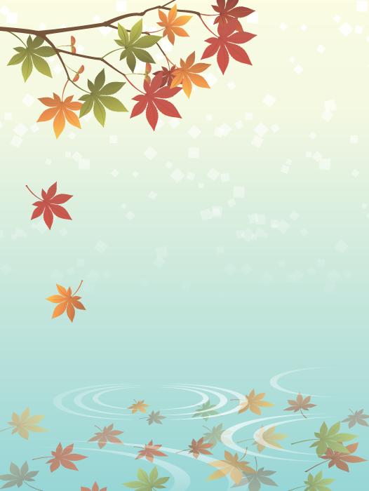 フリーイラスト 水面に落ちる紅葉