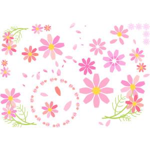 フリーイラスト, ベクター画像, EPS, 植物, 花, コスモス(秋桜), ピンク色の花, 花びら, 秋