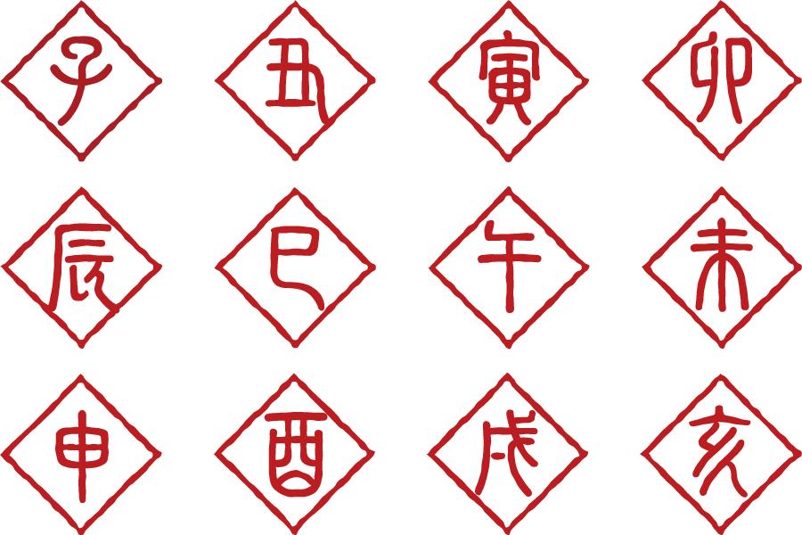 フリーイラスト 干支の漢字の印影のセット