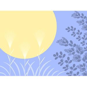 フリーイラスト, ベクター画像, AI, 背景, 年中行事, お月見(観月), 十五夜(中秋の名月), 秋, 薄(ススキ), 月, 満月, 夜, 9月