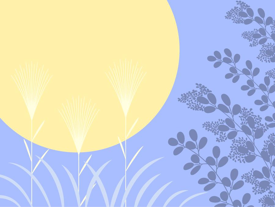 フリーイラスト ススキと満月の背景