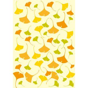 フリーイラスト, ベクター画像, AI, 背景, 植物, 葉っぱ, イチョウ, 紅葉(黄葉), 秋