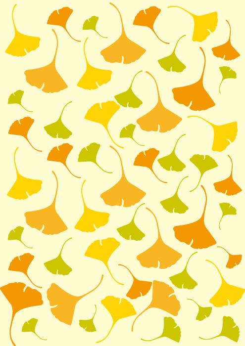 フリーイラスト たくさんの銀杏の葉の背景