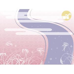 フリーイラスト, ベクター画像, EPS, 背景, 年中行事, お月見(観月), 十五夜(中秋の名月), 秋, 薄(ススキ), 月, 月の兎, 餅つき, 9月