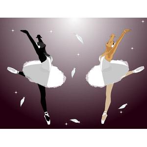 フリーイラスト, ベクター画像, EPS, 人物, 女性, バレエ, バレリーナ, 踊る(ダンス), 二人, つま先立ち, 羽根(羽毛)