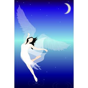 フリーイラスト, ベクター画像, EPS, 人物, 女性, 踊る(ダンス), 夜, 月, 三日月, 天使(エンジェル), 羽(翼)