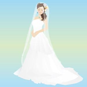 フリーイラスト, ベクター画像, EPS, 人物, 女性, ウェディングドレス, ベール, 目を閉じる