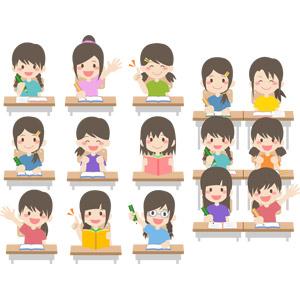 フリーイラスト, ベクター画像, AI, 人物, 子供, 女の子, 集団(グループ), 学生(生徒), 小学生, 教室, 勉強机, 授業, 勉強(学習), 挙手, 手を上げる, 教科書, 教育
