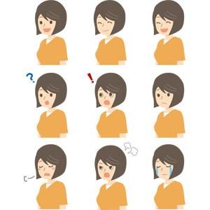 フリーイラスト, ベクター画像, AI, 人物, 女性, 笑う(笑顔), 分からない, 驚く, 気が付く, ため息をつく, 怒る, 泣く(泣き顔)