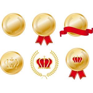 フリーイラスト, ベクター画像, AI, メダル, 金メダル, 勲章, 賞, 金(ゴールド), 一位(優勝)