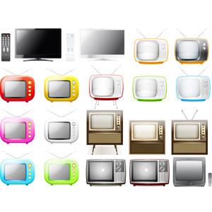 フリーイラスト, ベクター画像, AI, 家電機器, テレビ(TV), 液晶テレビ, ブラウン管テレビ, ポータブルテレビ, リモコン