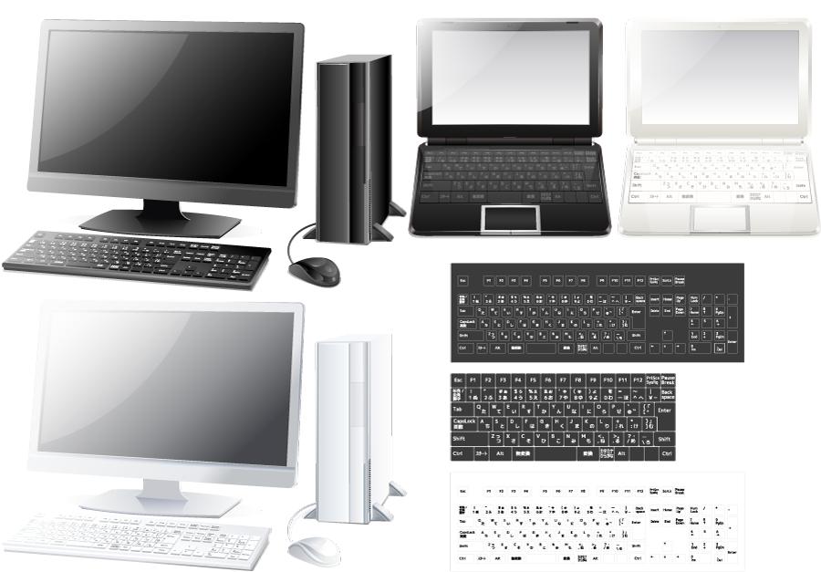フリー イラストパソコンとキーボードのセット