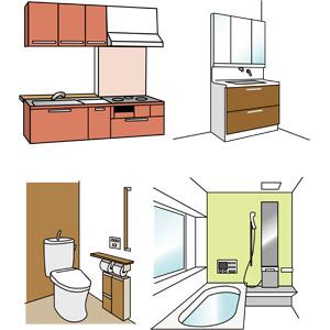フリーイラスト, ベクター画像, AI, 部屋, 台所(キッチン), システムキッチン, 洗面所(脱衣所), 洗面台, トイレ(便所), 便器, 浴室, お風呂, 浴槽(バスタブ), 住宅, マイホーム