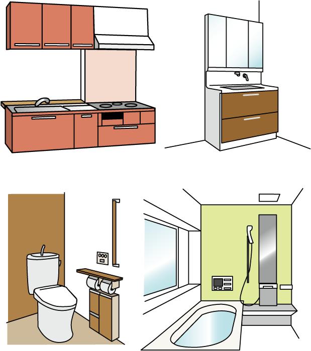 フリー イラスト台所と洗面所とトイレと浴室