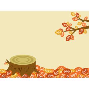 フリーイラスト, ベクター画像, AI, 風景, 植物, 葉っぱ, 紅葉(黄葉), 秋, 落葉(落ち葉), 切り株
