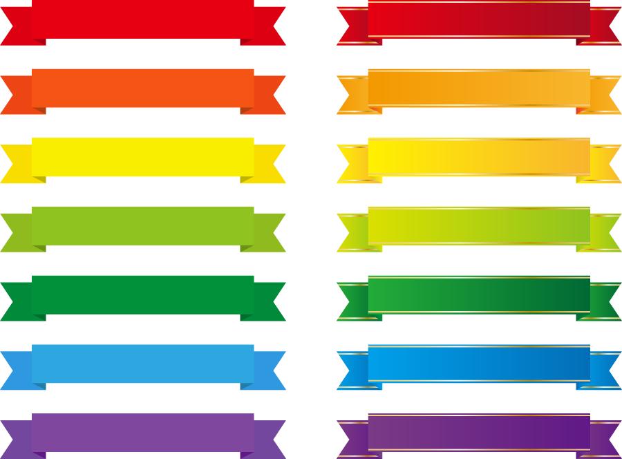 フリー イラスト色の違う帯リボンのセット