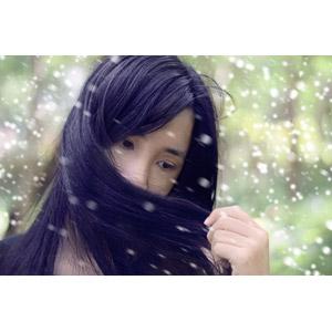 フリー写真, 人物, 女性, アジア人女性, ベトナム人, 女性(00006), 口元を覆う, 雪, 冬