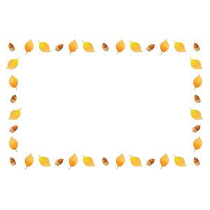 フリーイラスト, ベクター画像, AI, 背景, フレーム, 囲みフレーム, 植物, 葉っぱ, 落葉(落ち葉), 秋, どんぐり(ドングリ)